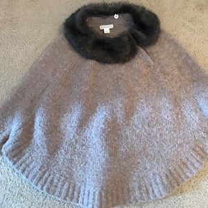 J.CREW GIRLS' MERINO WOOL PONCHO WITH REMOVABLE